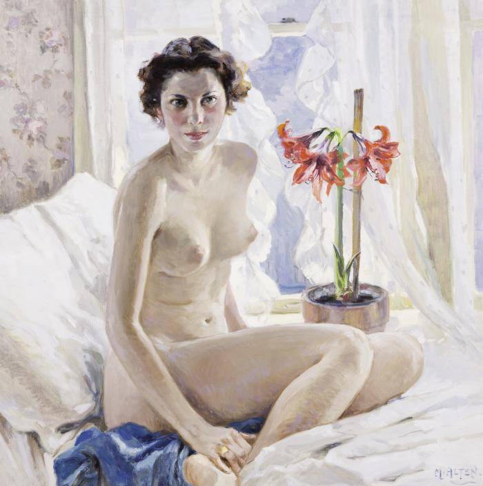 Nude female figure sitting next to an open window with amaryllis flowers in a vase next to her